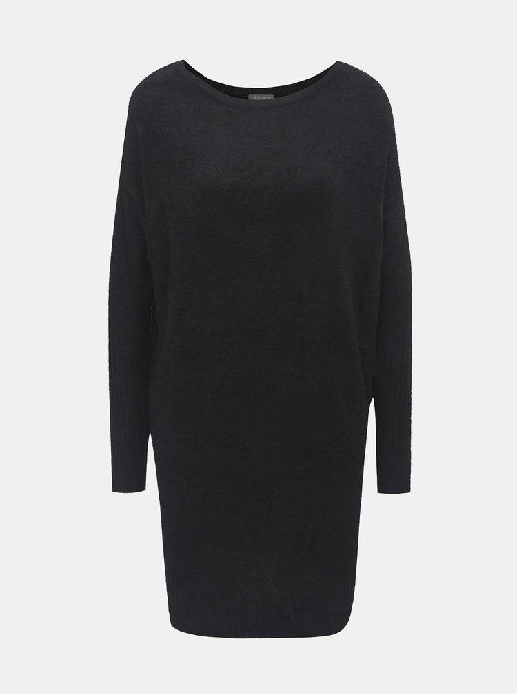 Černé svetrové minišaty s dlouhým rukávem a zavazováním touch me.