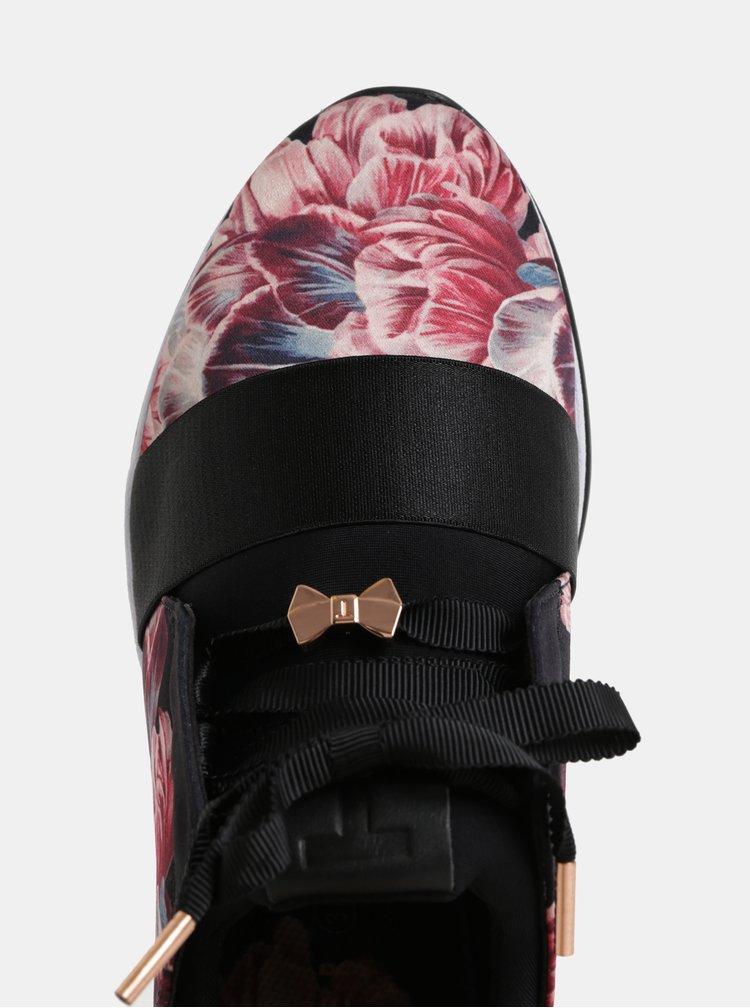 Černo-růžové dámské vzorované tenisky Ted Baker
