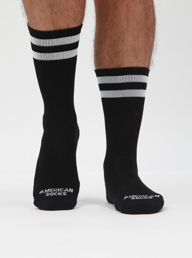 Černé unisex ponožky s pruhy American socks II.