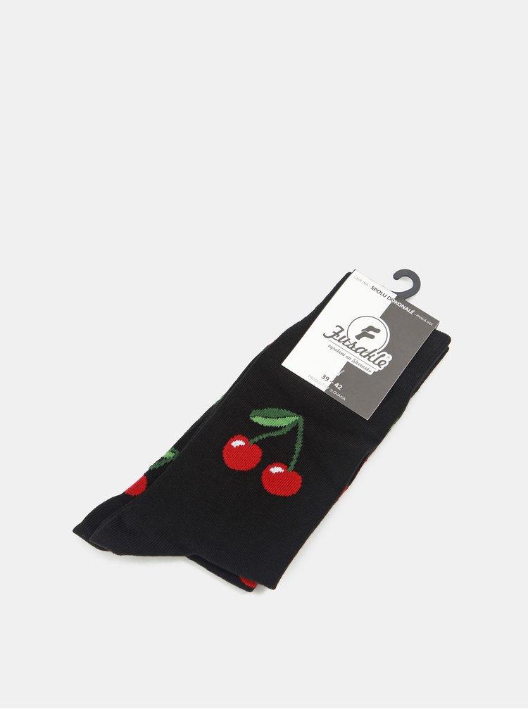 Červeno-černé vzorované ponožky Fusakle Čerešně v noci