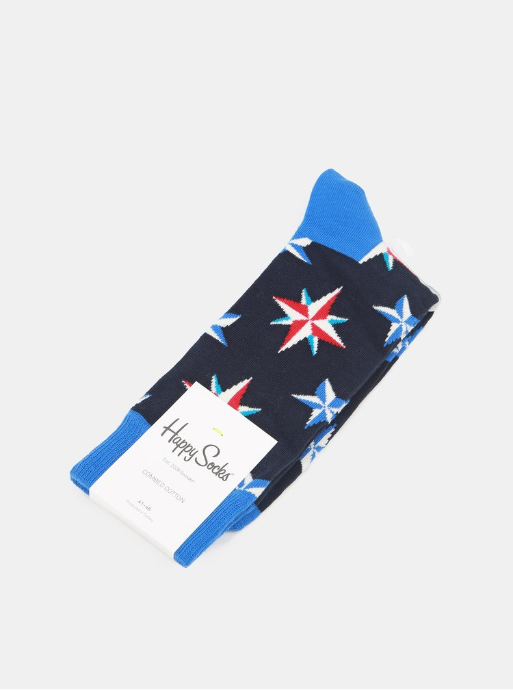 Sosete barbatesti albastre cu model Happy Socks Nautical Star Sock