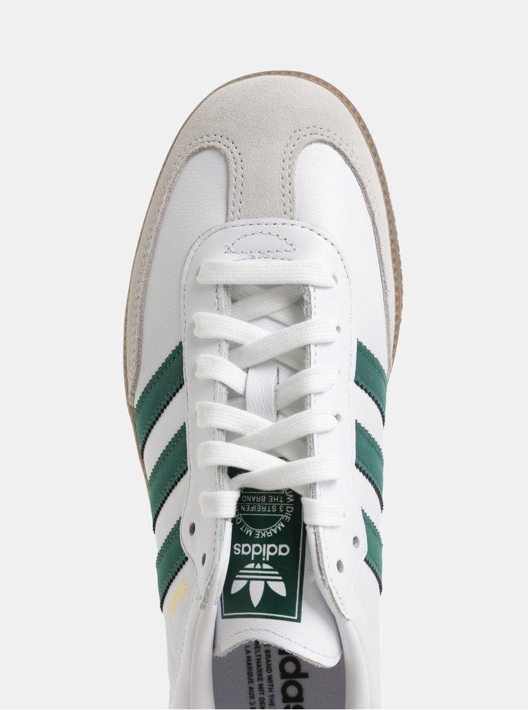 Bílé pánské kožené tenisky se semišovými detaily adidas Originals Samba