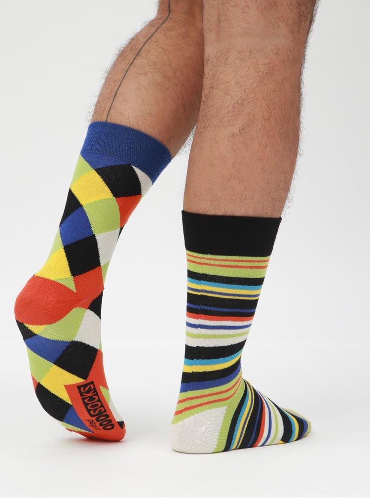 Súprava troch unisex vzorovaných ponožiek v modrej a čiernej farbe Oddsocks Dylan