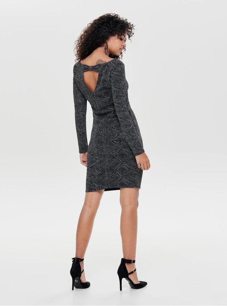 Rochie mulata negru-argintiu cu model si decupaj la spate ONLY Shine