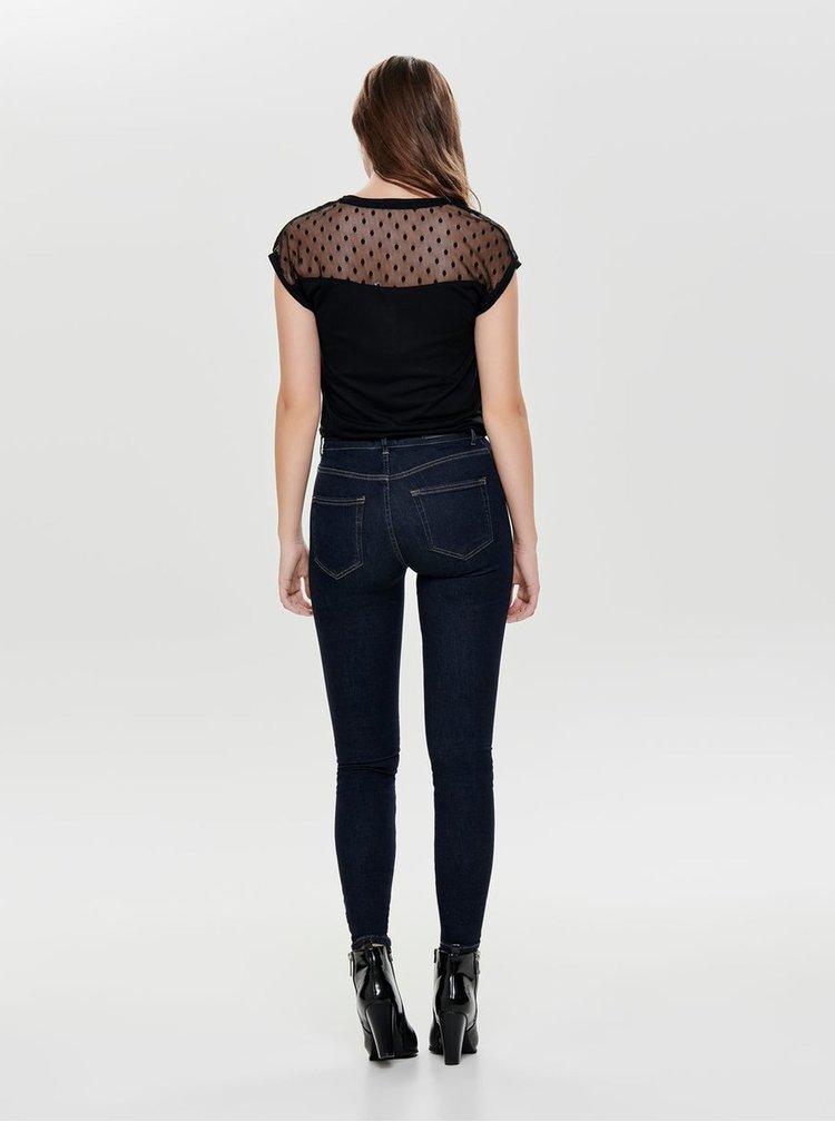 Černé tričko se síťovaným sedlem ONLY Kirsty