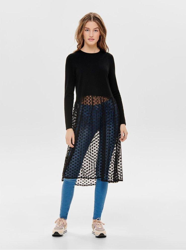 Top negru cu maneci lungi si fusta transparenta ONLY