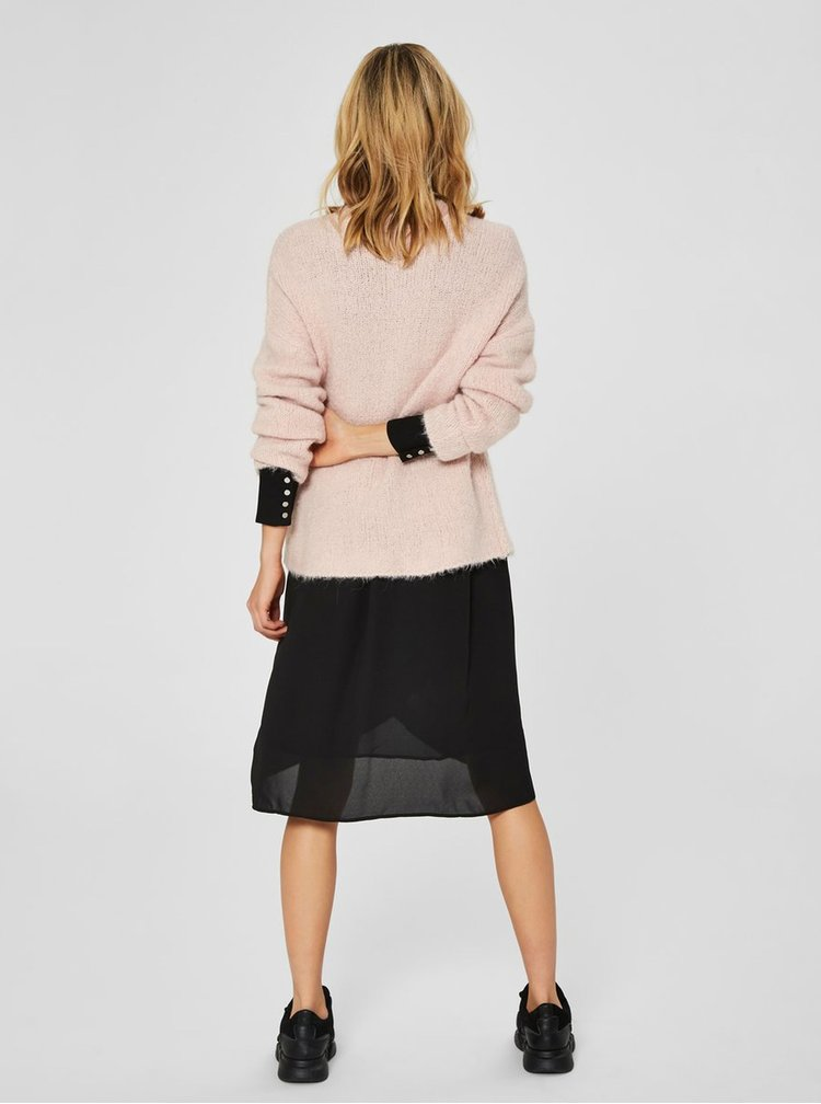 Svetloružový sveter s prímesou vlny Selected Femme Fregina