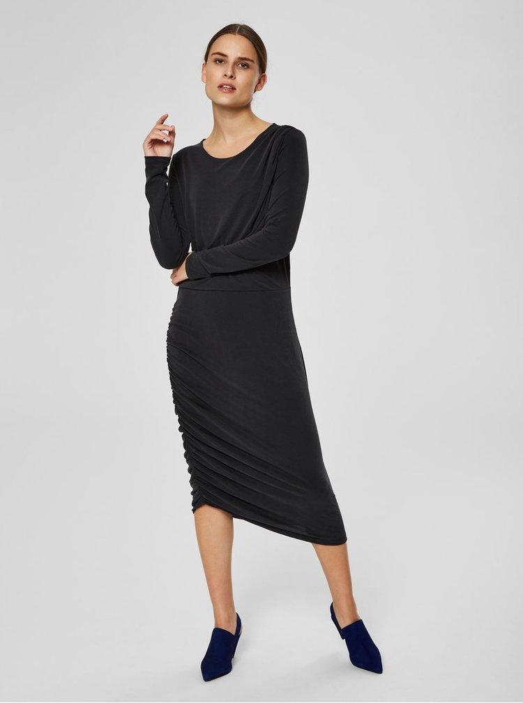Čierne asymetrické šaty s riasením na boku Selected Femme Helen