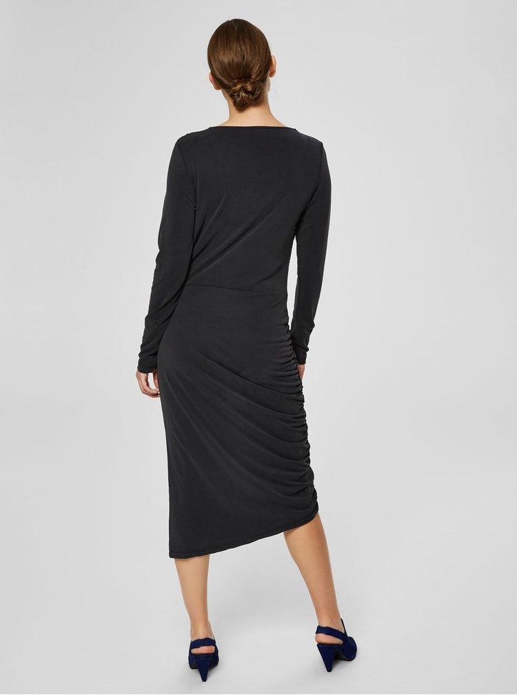 Černé asymetrické šaty s řasením na boku Selected Femme Helen