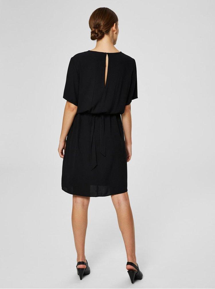 Černé šaty se zavazováním v pase Selected Femme Tanna
