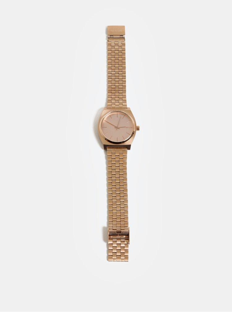 Ceas de dama cu curea roz-auriu din otel inoxidabil Nixon