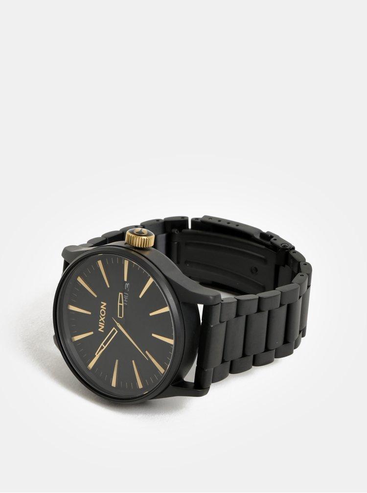 Pánské hodinky s černým nerezovým páskem NIXON