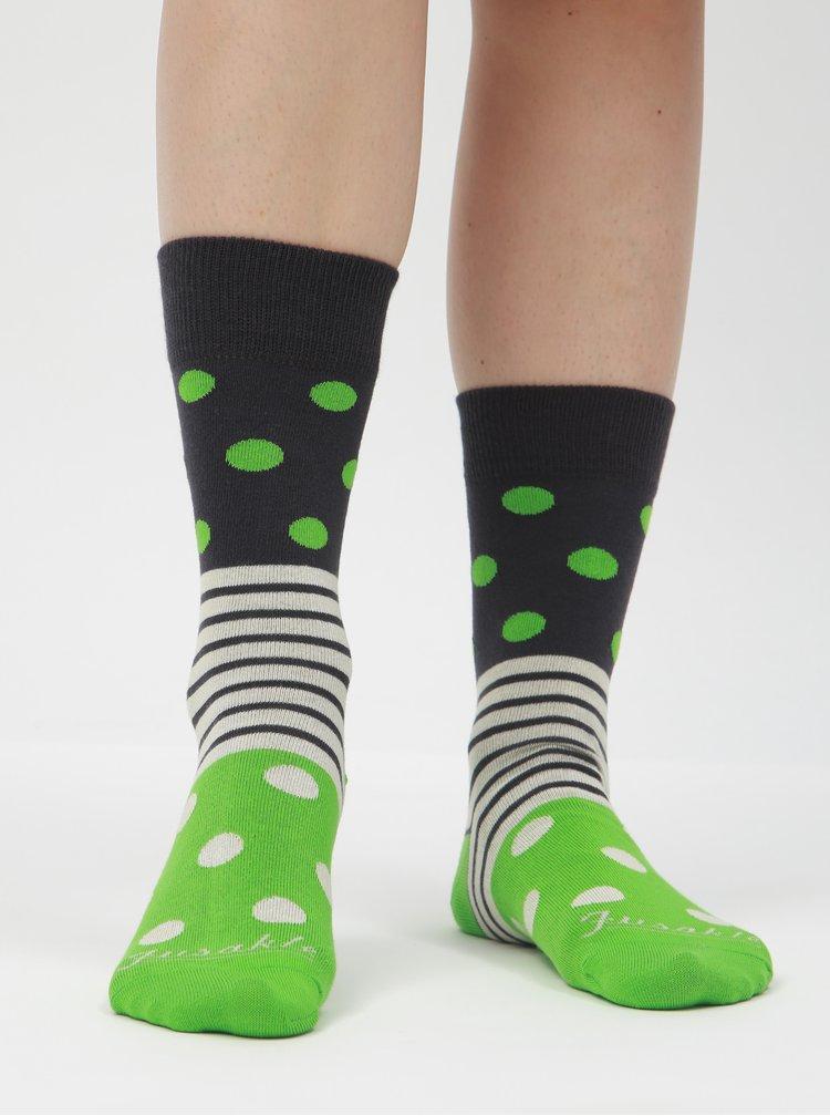 Modro-zelené puntíkované ponožky Fusakle Guľkopásik greenhorn