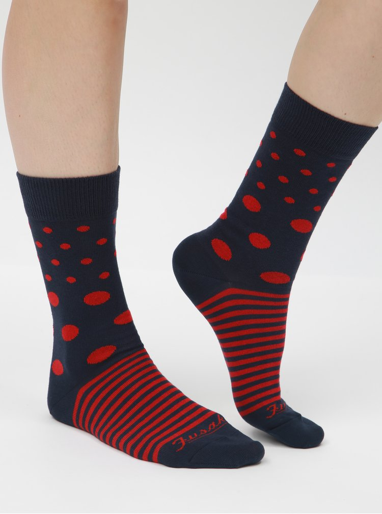 Modro-červené vzorované unisex ponožky Fusakle Guľkopásik krvavý