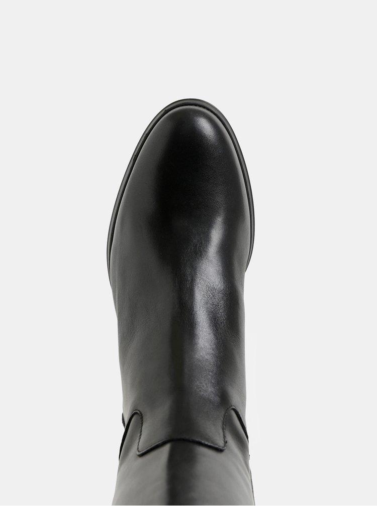 Černé kožené kozačky na širokém podpatku OJJU