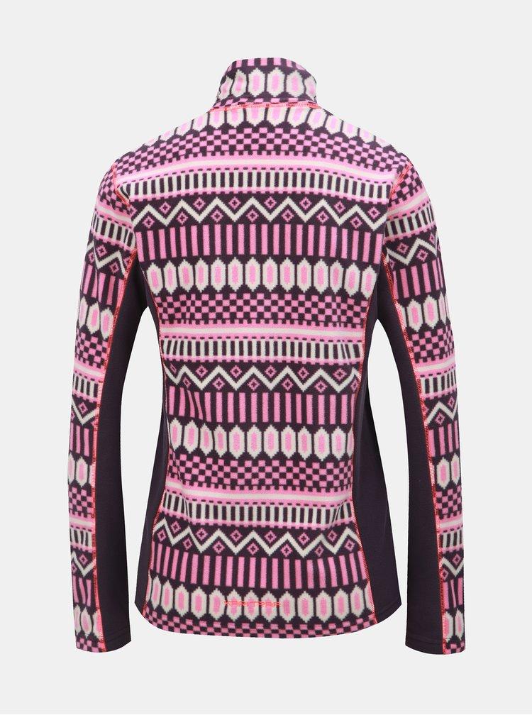 Růžovo-fialová fleecová vzorovaná mikina Kari Traa Kroll