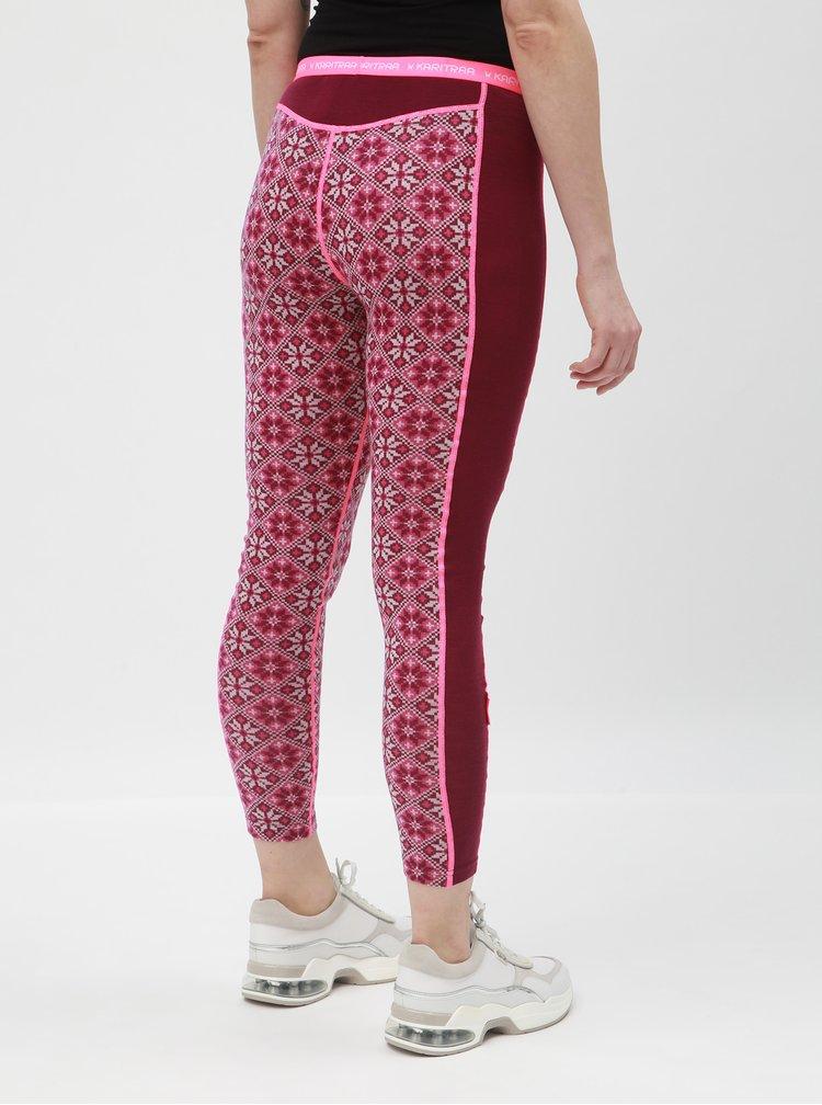 Leggings functionali roz-bordo din lana cu model Kari Traa Rose