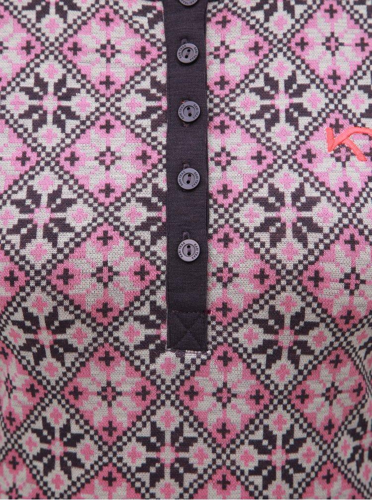 Fialové vlnené funkčné tričko s gombíkmi Kari Traa Rose