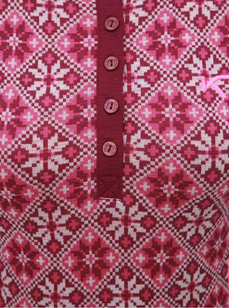 Tricou functional roz inchis din lana cu nasturi Kari Traa