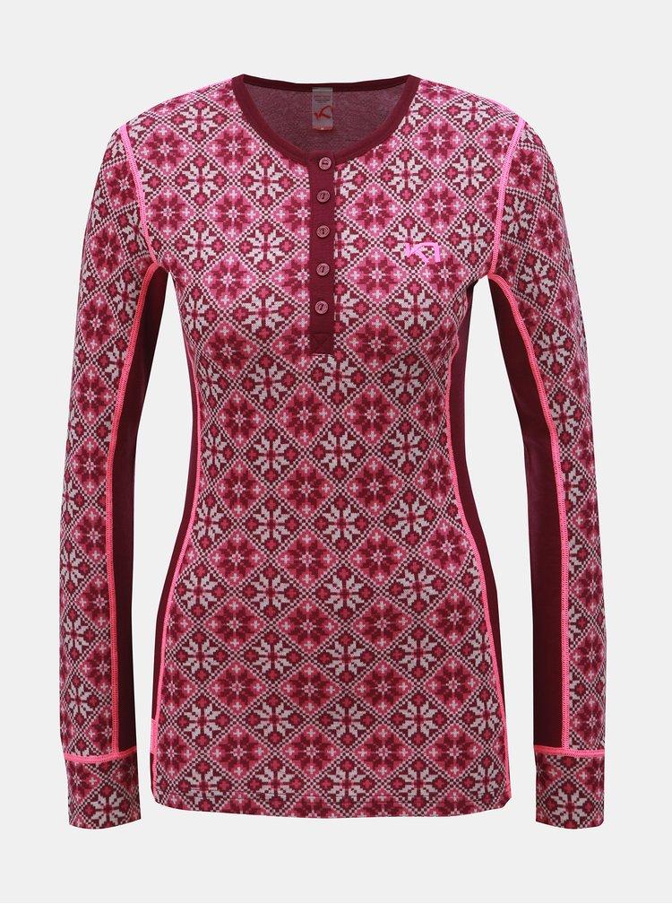 Tmavoružové vlnené funkčné tričko s gombíkmi Kari Traa