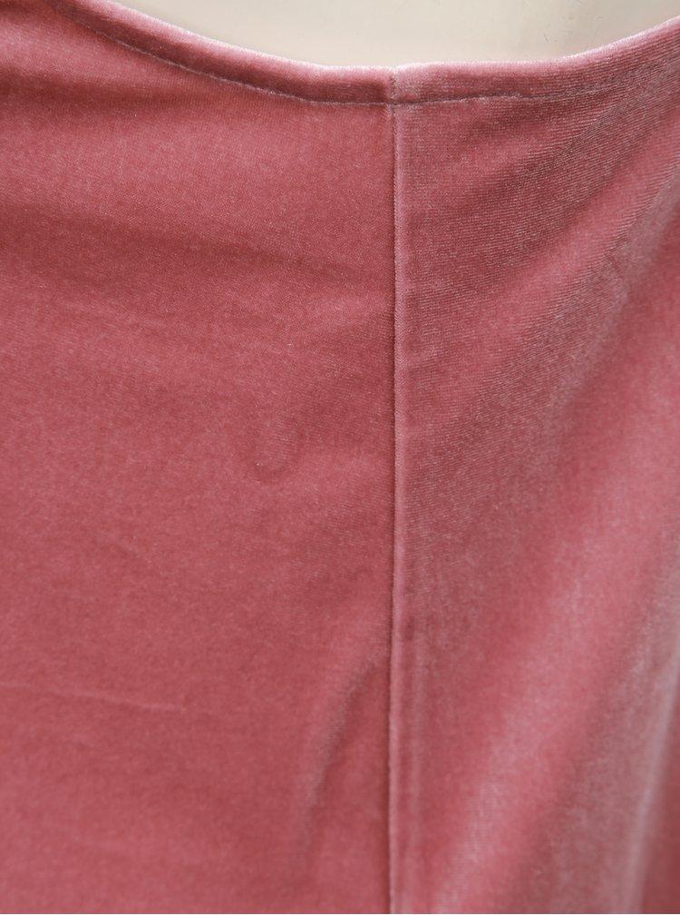 Růžový sametový top TALLY WEiJL