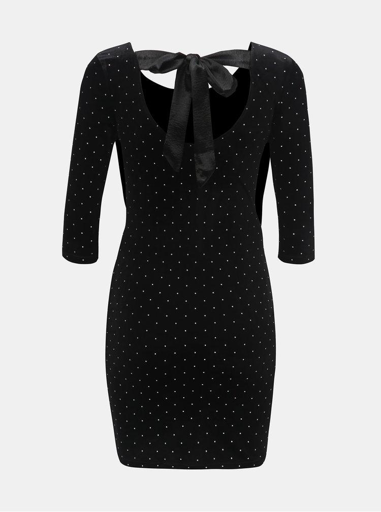 Černé sametové puntíkované šaty s mašlí TALLY WEiJL