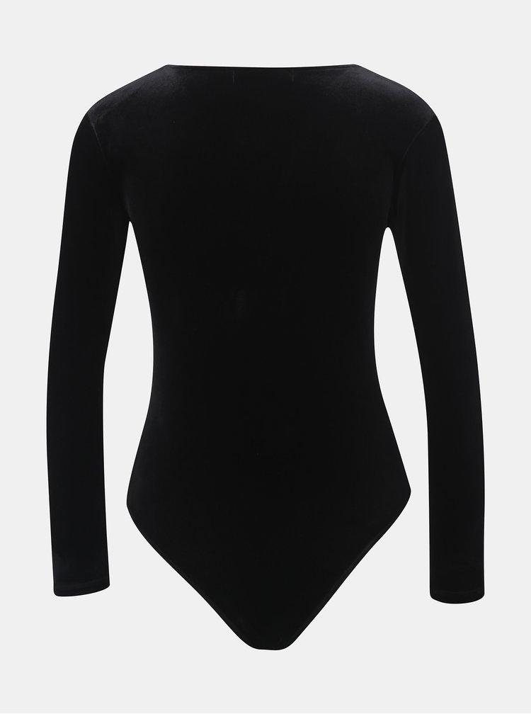 Body negru catifelat cu decolteu in V TALLY WEiJL