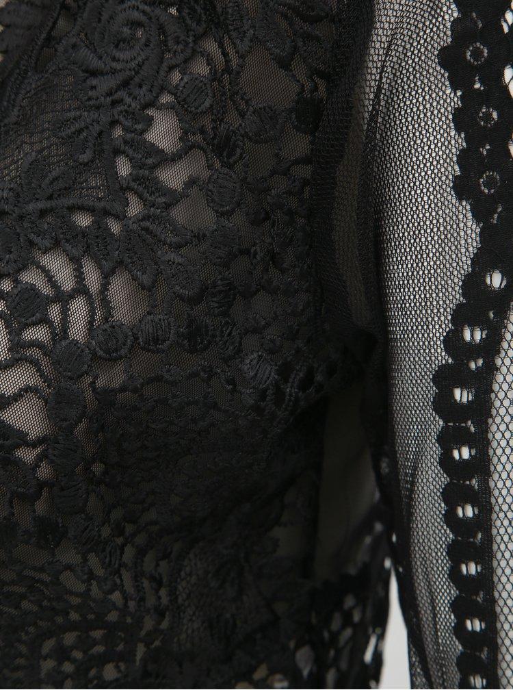 Top scurt negru transparent cu detalii din dantela TALLY WEiJL