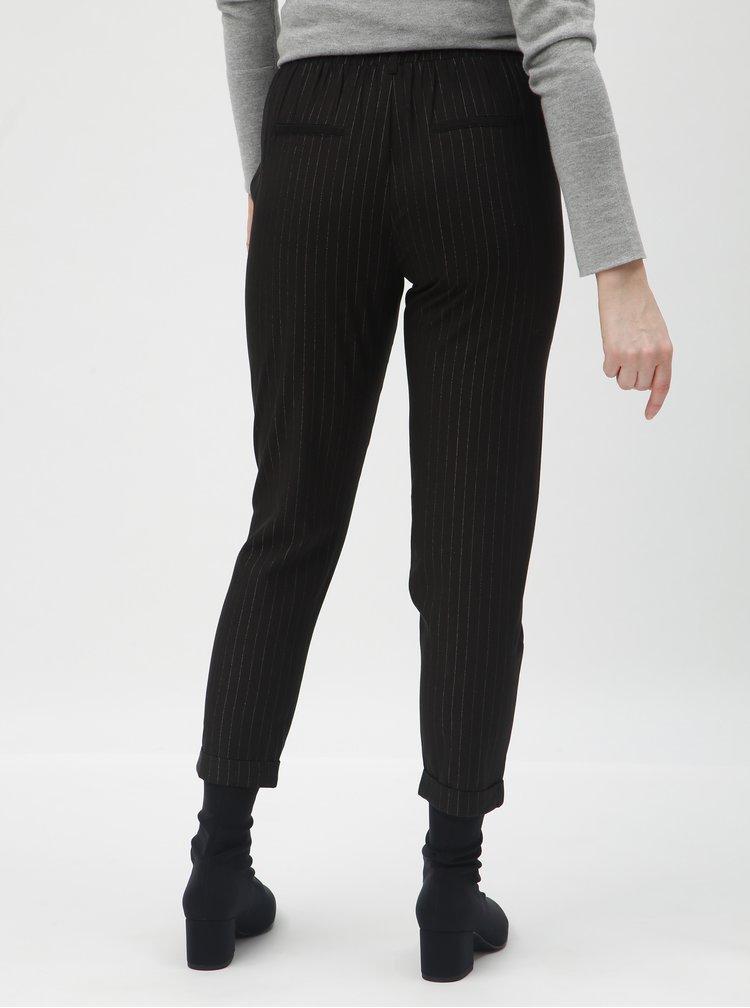 Pantaloni negru in dungi pana la glezne cu talie inalta TALLY WEiJL