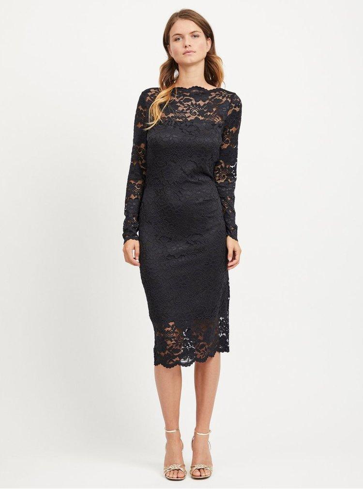 Čierne puzdrové čipkované šaty s dlhým rukávom VILA Grit