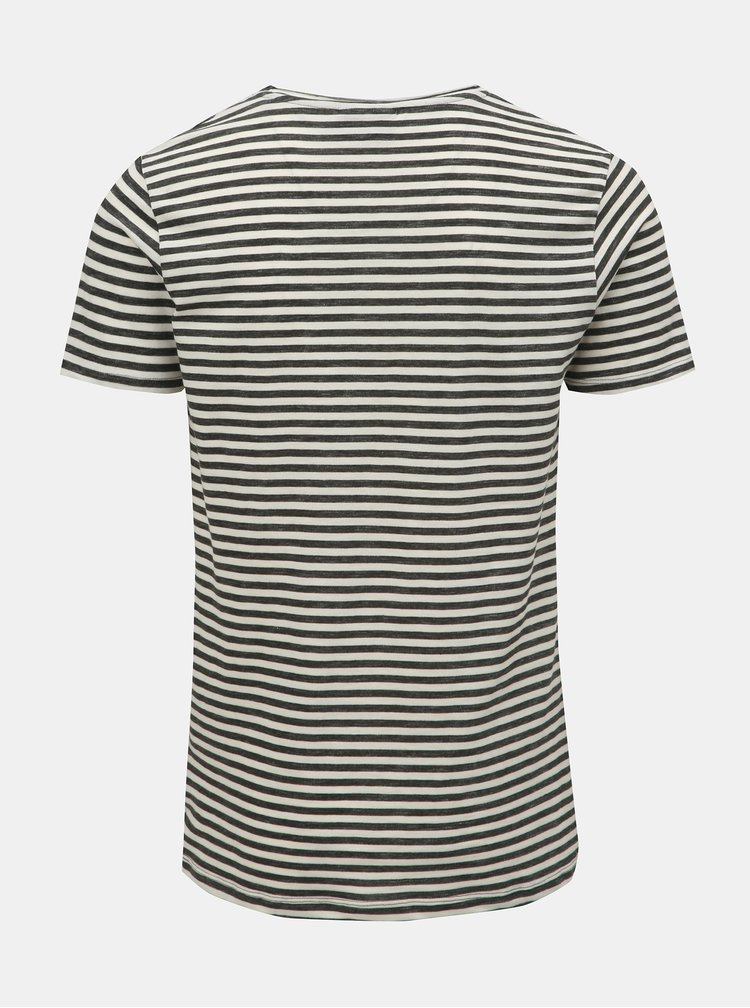 Krémovo–zelené pruhované tričko s okrúhlym výstrihom JUNK de LUXE