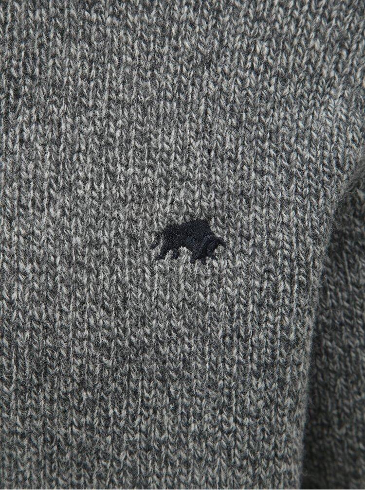 Šedý žíhaný vlněný svetr Raging Bull