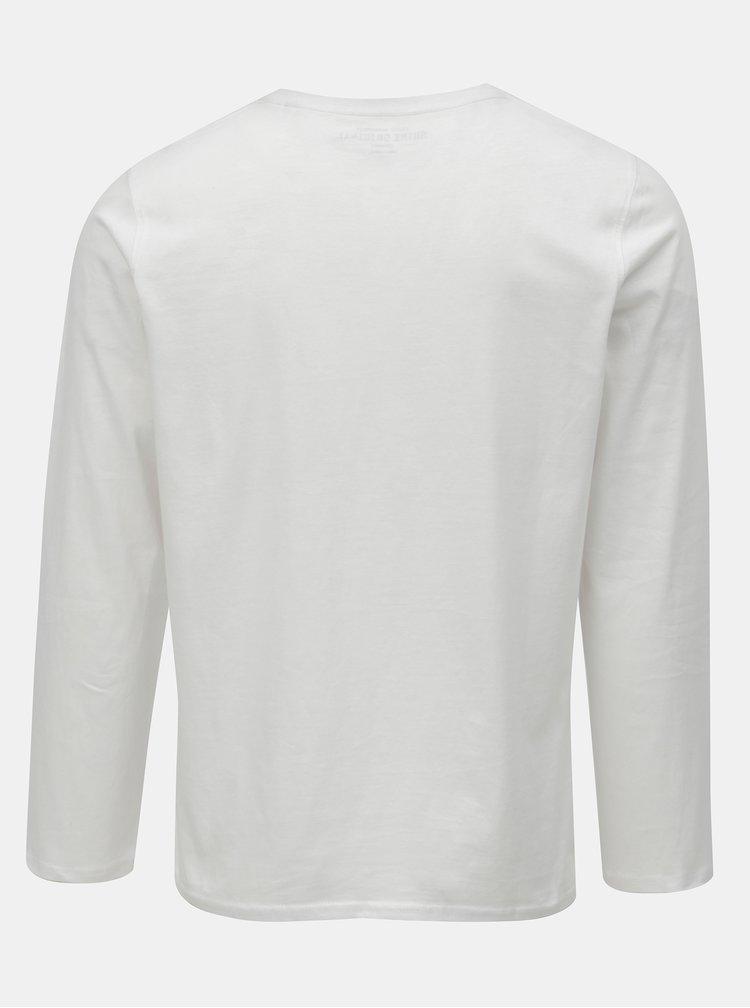 Tricou alb cu maneci lungi si imprimeu Shine Original Breaker