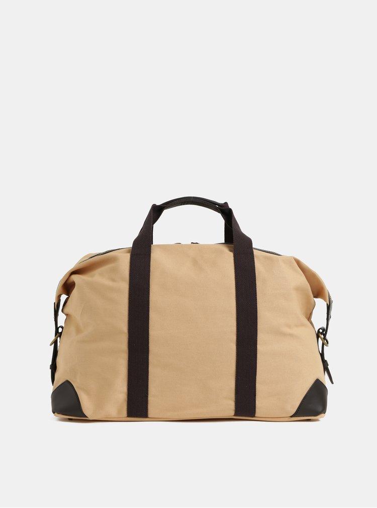 Hnedo–béžová cestovná taška s koženými detailmi GANT