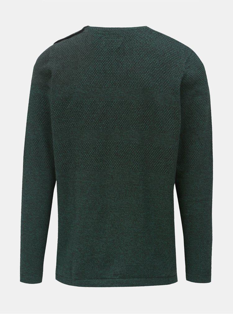 Tmavozelený melírovaný sveter s gombíkmi pri krku Shine Original