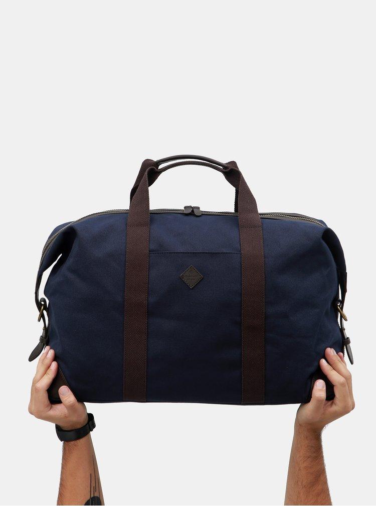 Hnědo-modrá cestovní taška s koženými detaily GANT