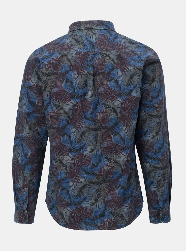Camasa bordo-albastru cu motiv frunze Shine Original