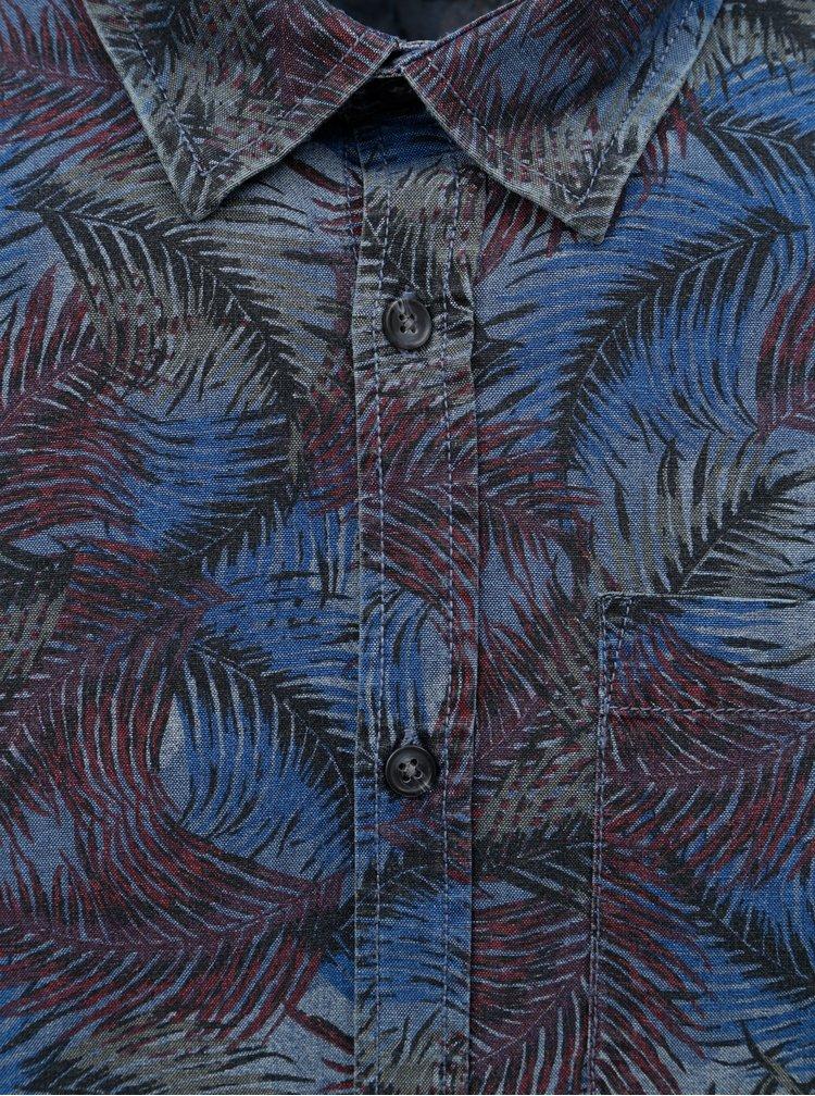 Vínovo-modrá košile s motivem listů Shine Original