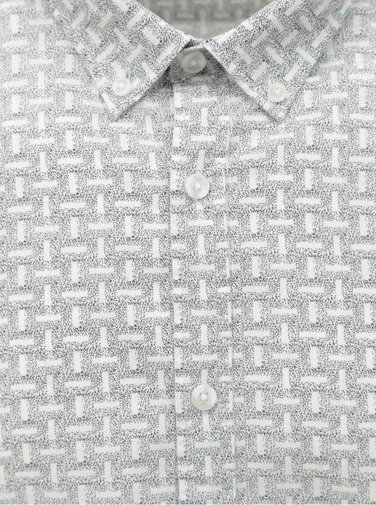 Camasa gri-alb cu model Shine Original