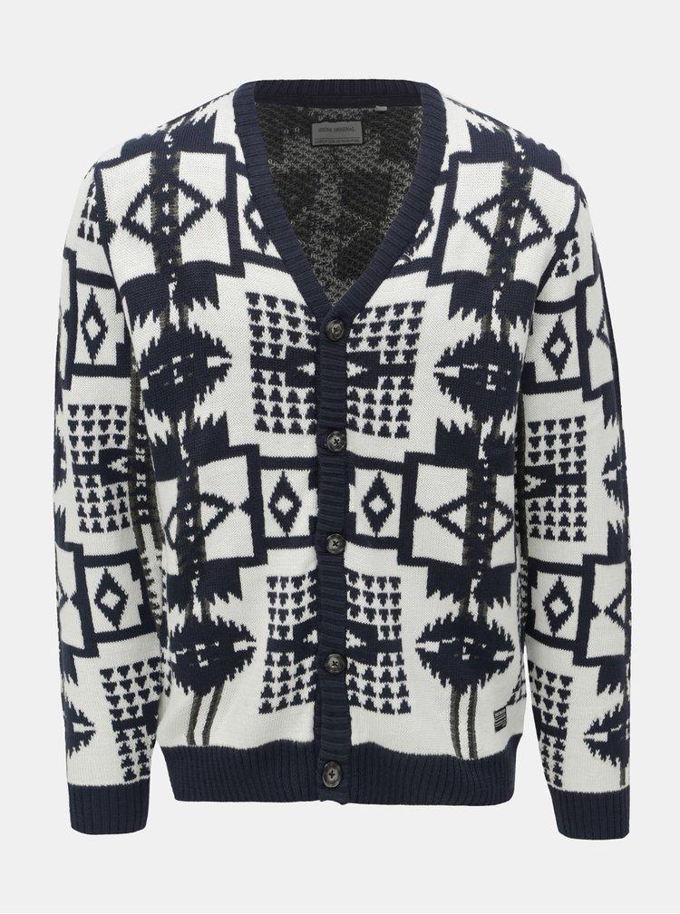 Cardigan alb-albastru cu model Shine Original Aztec