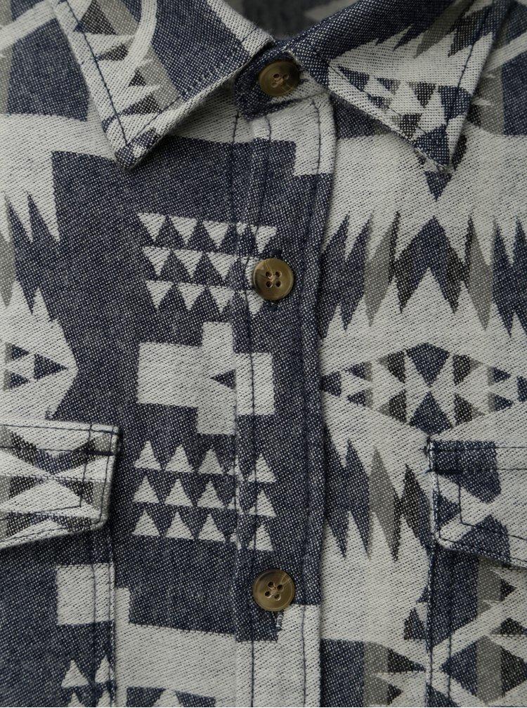 Krémovo-modrá vzorovaná košile s kapsami Shine Original