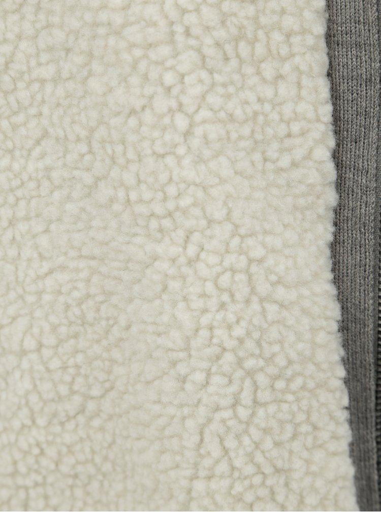 Sivý sveter na zips s kapucňou a umelou kožušinkou Shine Original Boa