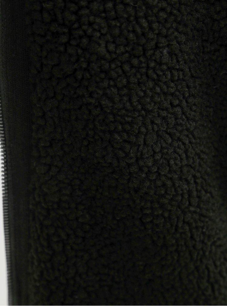 Pulover negru cu fermoar, gluga si blana artificiala Shine Original Boa