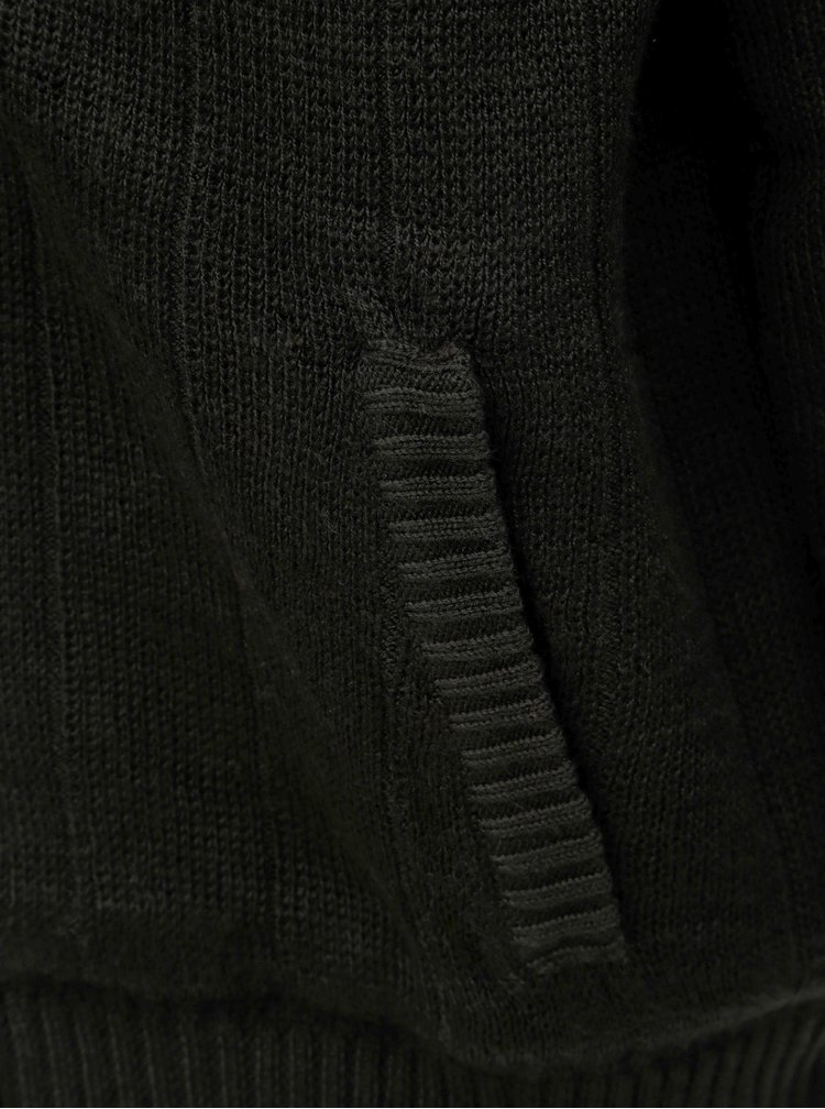 Černý svetr na zip s kapucí a umělým kožíškem Shine Original Boa