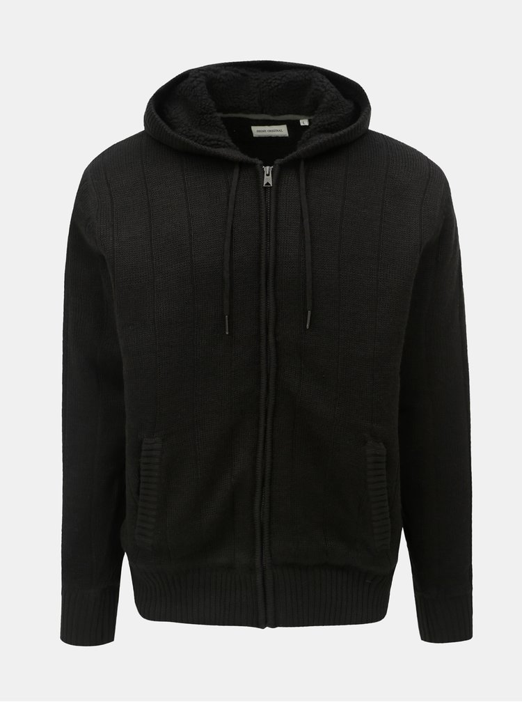 Čierny sveter na zips s kapucňou a umelou kožušinkou Shine Original Boa