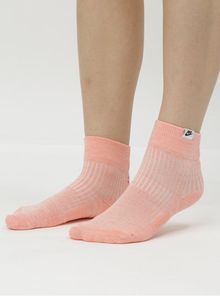 Sada dvou párů dámských kotníkových ponožek v bílé a růžové barvě Nike