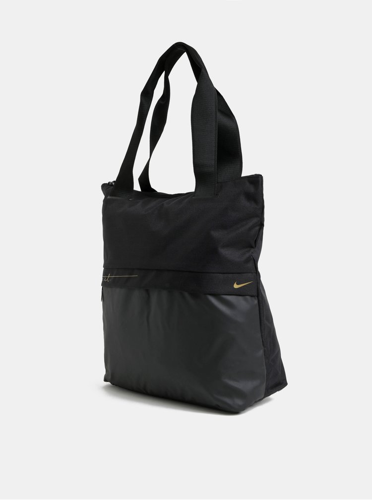 Geanta sport neagra de dama cu detalii aurii Nike 20 l