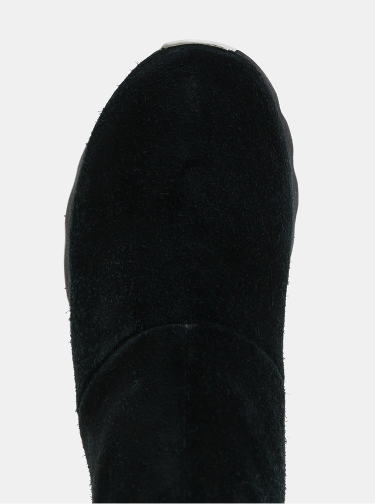 Ghete negre impermeabile cu aspect de piele intoarsa de iarna de dama SOREL Kinetic