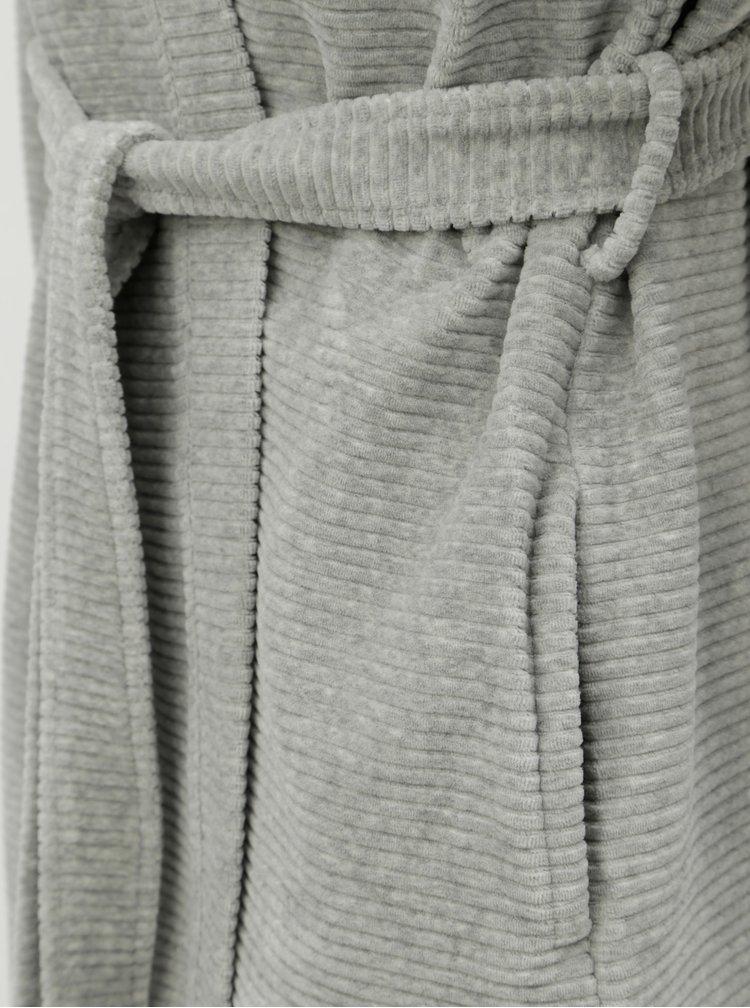 Svetlosivý dámsky rebrovaný župan Calvin Klein Underwear