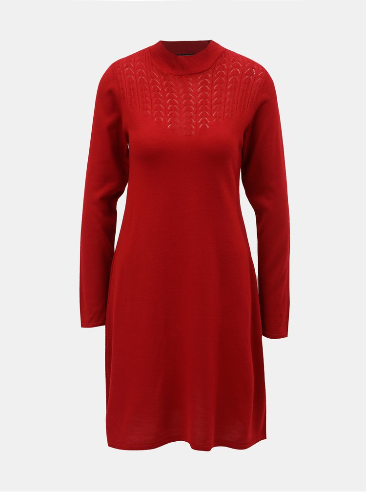 Rochie rosie tricotata cu guler inalt Dorothy Perkins